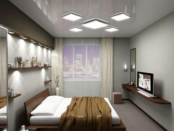 Освещение в спальне 3 на 3