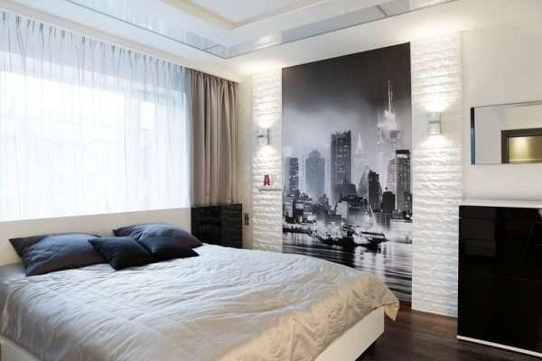 Стилные фотообои на стене в спальне 12 м