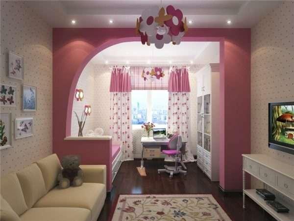Разделение на зоны в спальне для девочки подроска