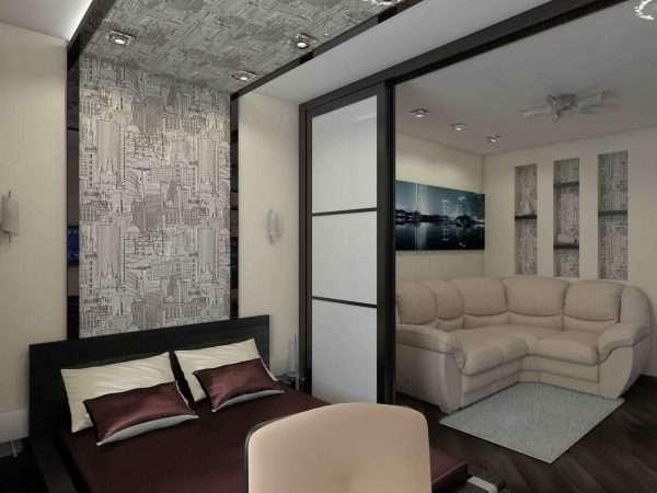 Вариант зонирования спальни-гостиной 14 кв м.
