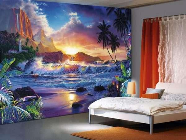 Фотообои с картинами природы для спальни