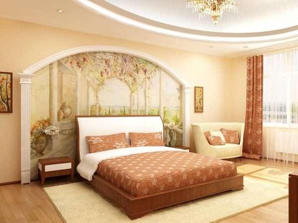 Интерьер спальни с фотообоями в классическом стиле