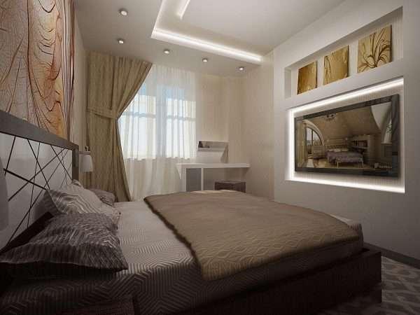 Потолок из гипсокартона в спальне 10 м