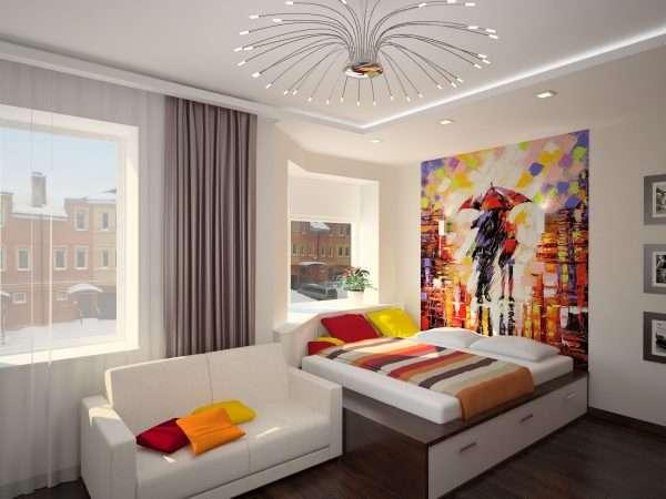 Современная спальня с абстрактными фотообоями