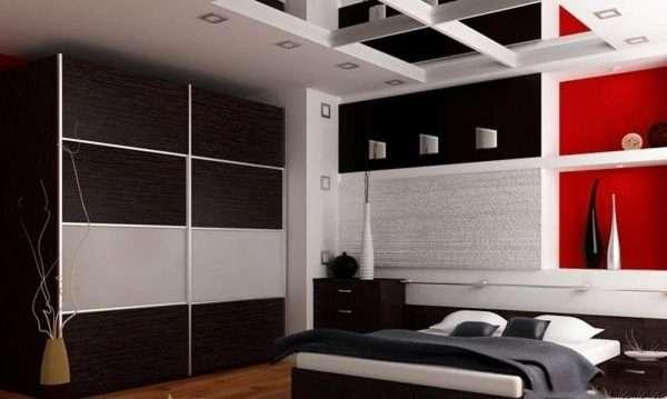 Темный шкаф купе в спальню