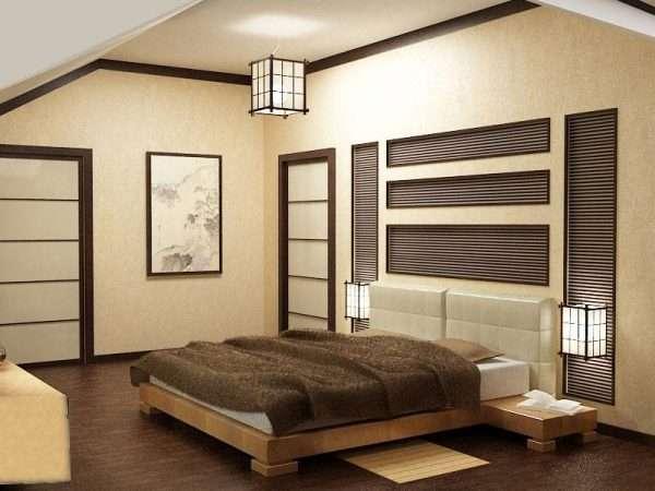 Освещение в спальне в японском стиле
