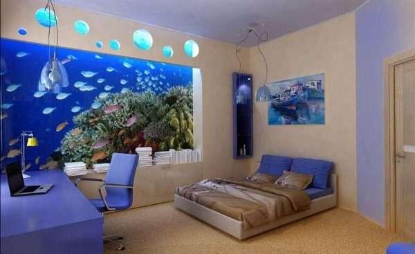 Морская тема в оформлении спальни