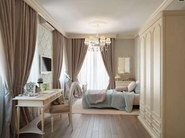 Шторы кофейного оттенка для интерьера классической спальни