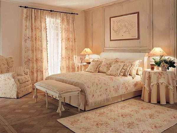 Нежные шторы в стиле Прованс для спальни