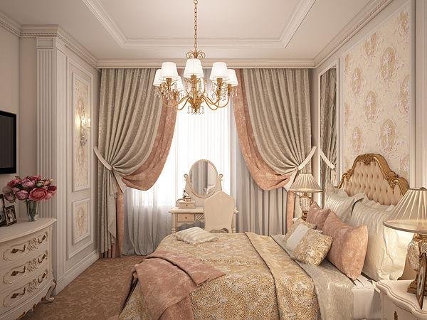 Шторы в классическом стиле в спальню