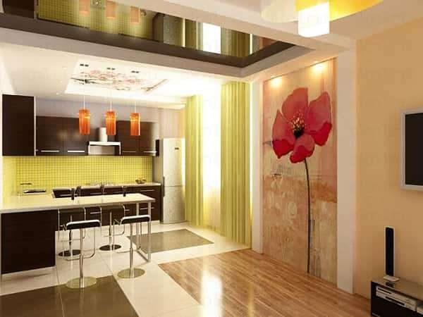 стильный декор в интерьер кухни-гостиной