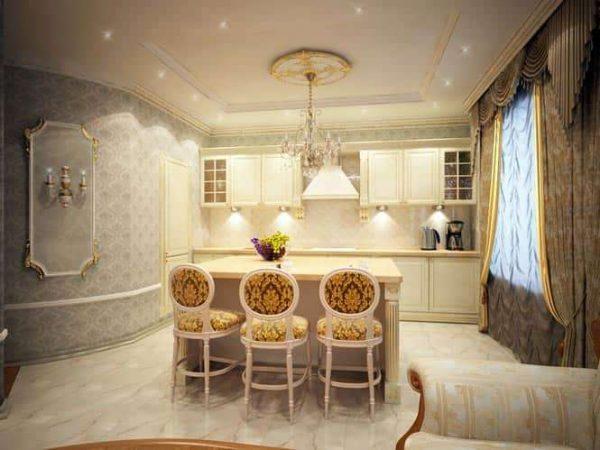 классический стиль в интерьере кухни-гостиной в частном доме