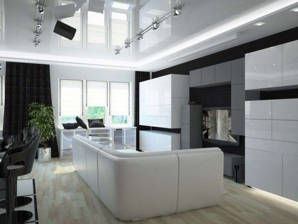Дизайн кухни-гостиной в частном доме в стиле хай тек