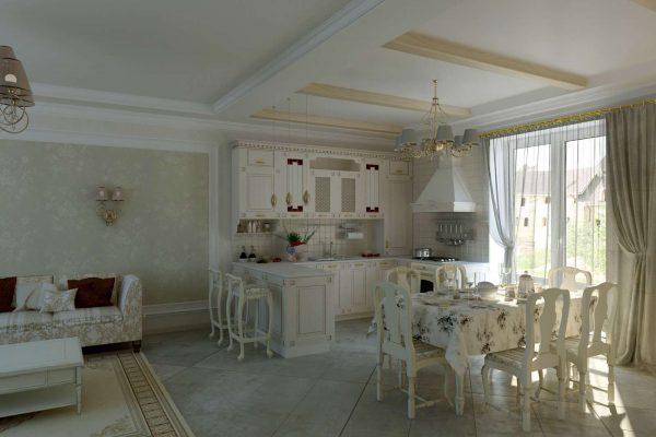 кухня-гостиная в частном доме в стиле прованс