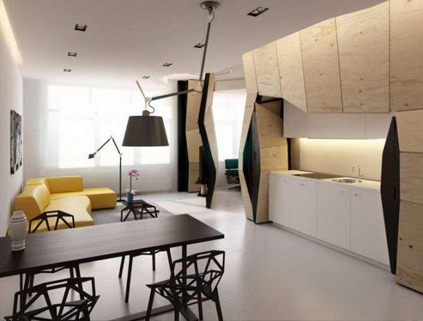 современный интерьер кухни гостиной в частном доме