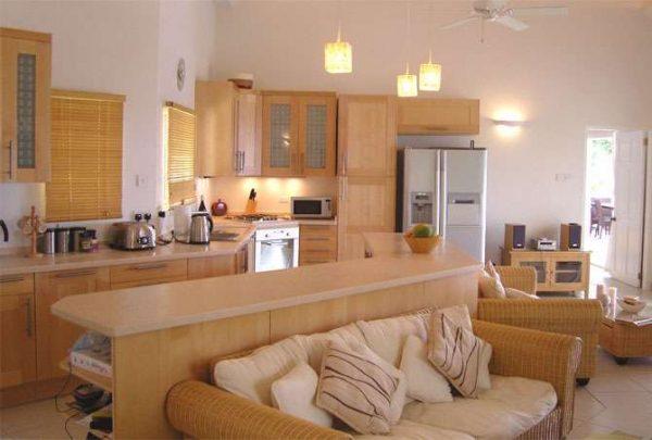 кухня гостиная в песочных тонах