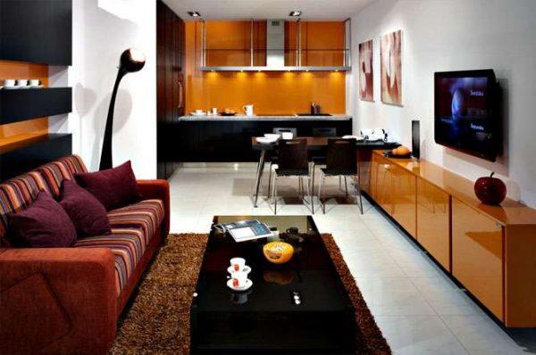 стильный интерьер кухни гостиной в частном доме