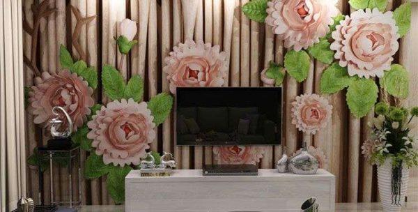 3d обои цветы в интерьере прихожей