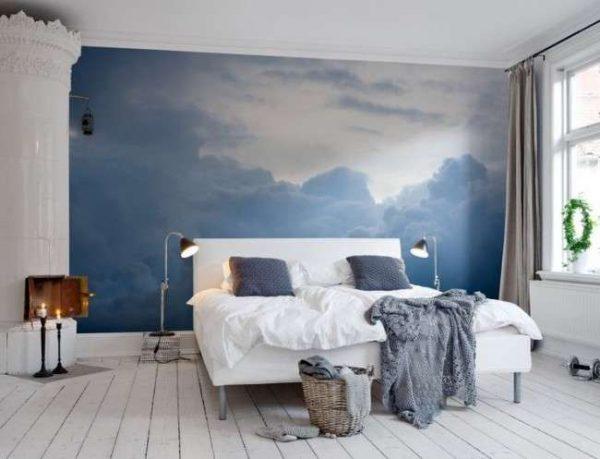3d обои с видом неба в интерьере спальни
