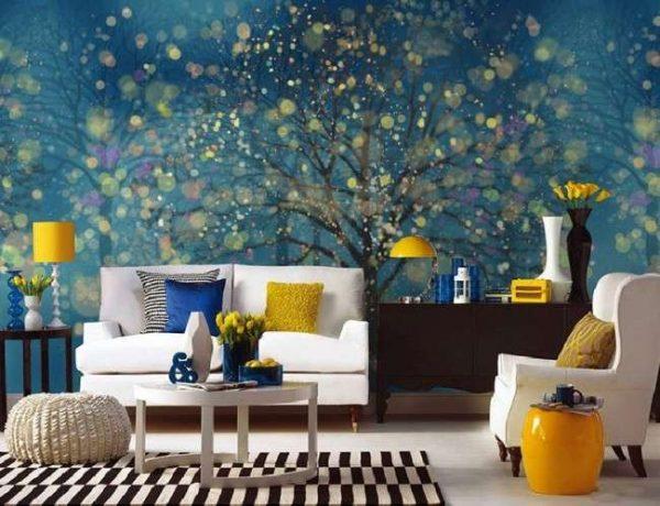 3d обои деревья в интерьере гостиной
