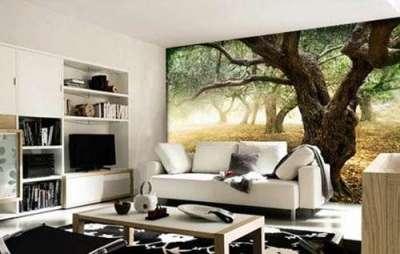 3d обои дерева в интерьере гостиной