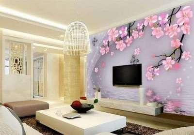 3d обои цветов в интерьере гостиной