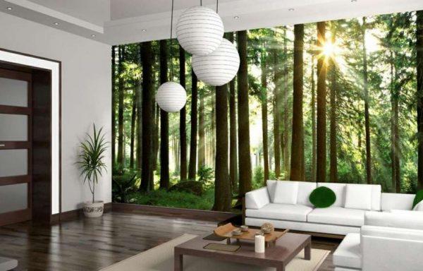 3d обои лес в интерьере гостиной