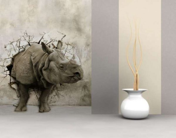 3d обои носорог в интерьере гостиной