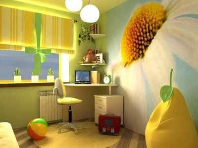 фотообои 3d ромашка в интерьере детской комнаты