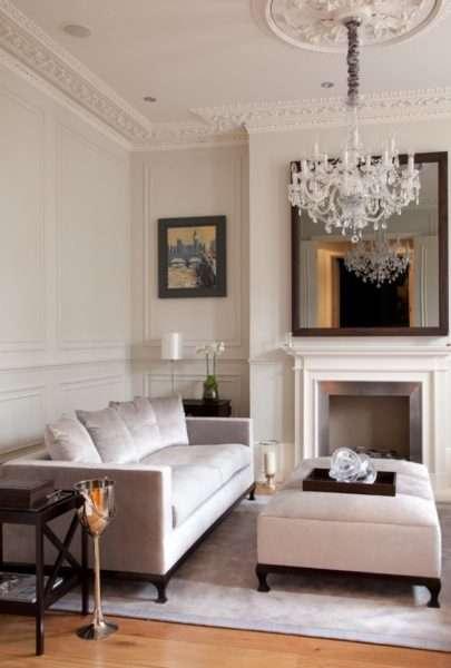 камин в интерьере гостиной в классическом стиле