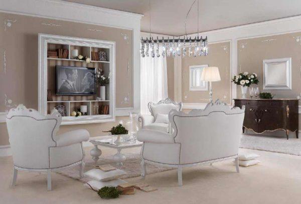 дизайн гостиной с белой мебелью гламур