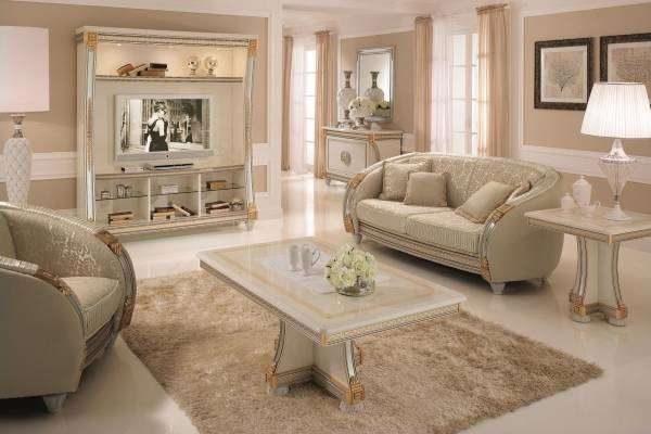 белая мебель в роскошном интерьере гостиной