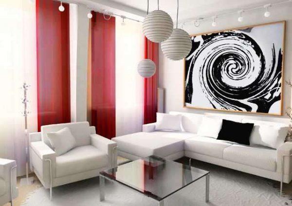 красные шторы и белая мебель в гостиной