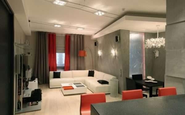 бордово-серые шторы в интерьере гостиной