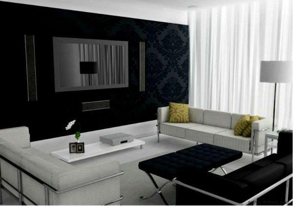 в интерьере черно-белой гостиной стиль модерн