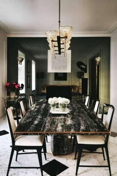 черный мрамор в гостиной в качестве столешницы