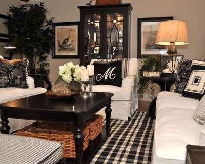 классический интерьер черно-белой гостиной