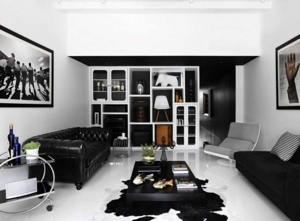 модульная стенка мебельная в черно-белой гостиной