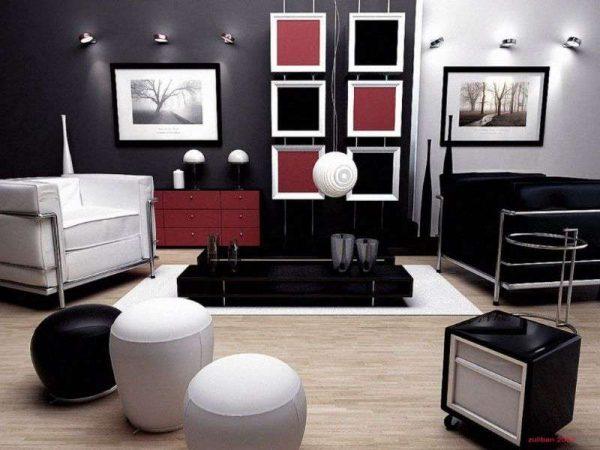 вкрапление красных тонов в интерьере черно-белой гостиной