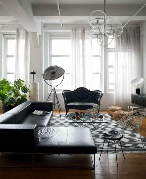 черно-белая гостиная с комнатными цветами