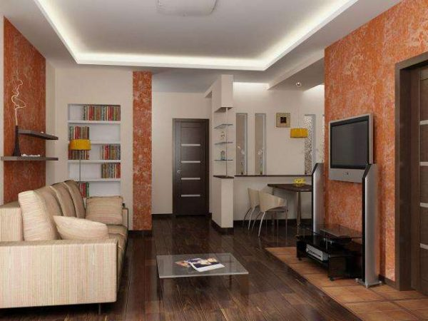 коричневый в интерьере гостиной
