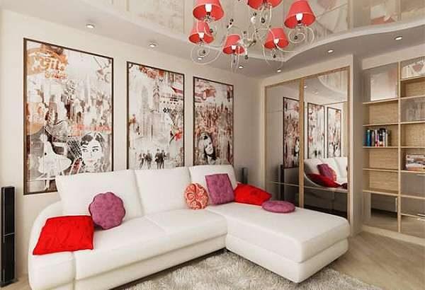 в интерьере гостиной белый угловой диван