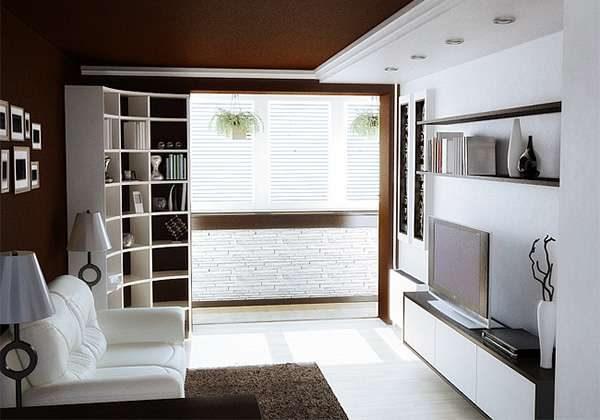 коричнево-белая гостиная