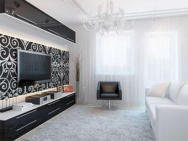 белая гостиная в интерьере гостиной с чёрной мебелью