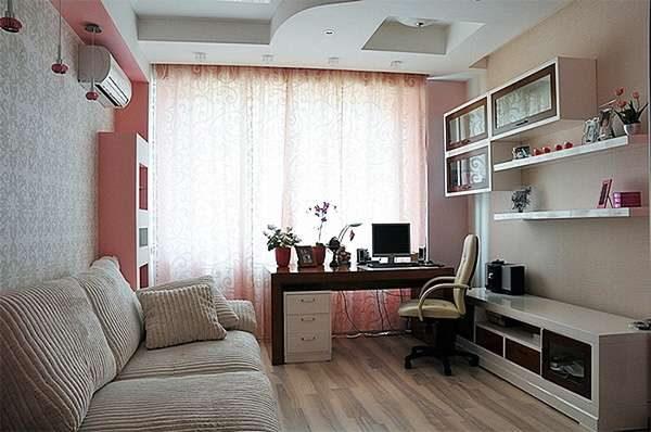 многоярусный потолок из гипсокартона в интерьере гостиной