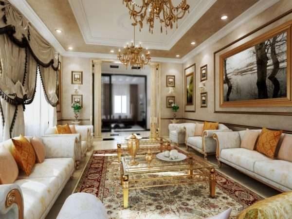 интерьер гостиной 17 кв. м в классическом стиле