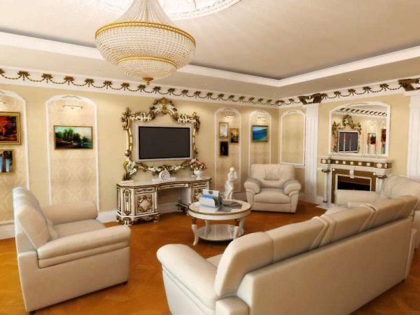 светлая мебель в интерьере гостиной 17 кв.м. в классическом стиле