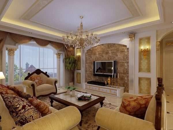 зона отдыха в гостиной 17 кв.м. в классическом стиле