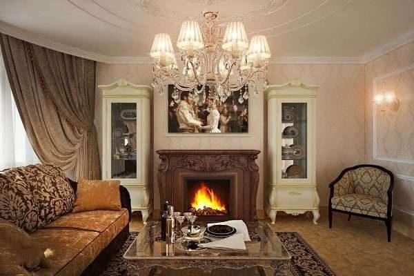 роскошная люстра в интерьере гостиной 17 кв.м. в классическом стиле