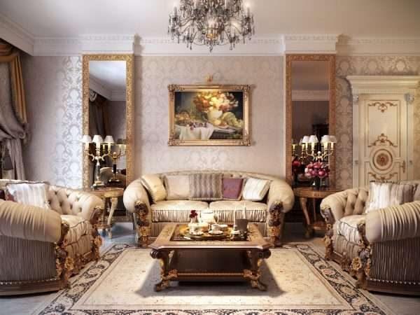 диванная группа в интерьере гостиной 17 кв.м. в классическом стиле